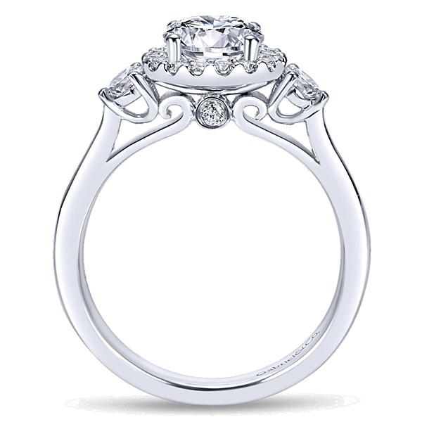 6c5911076586df Noelle 14k White Gold Round 3 Stones halo Engagement Ring